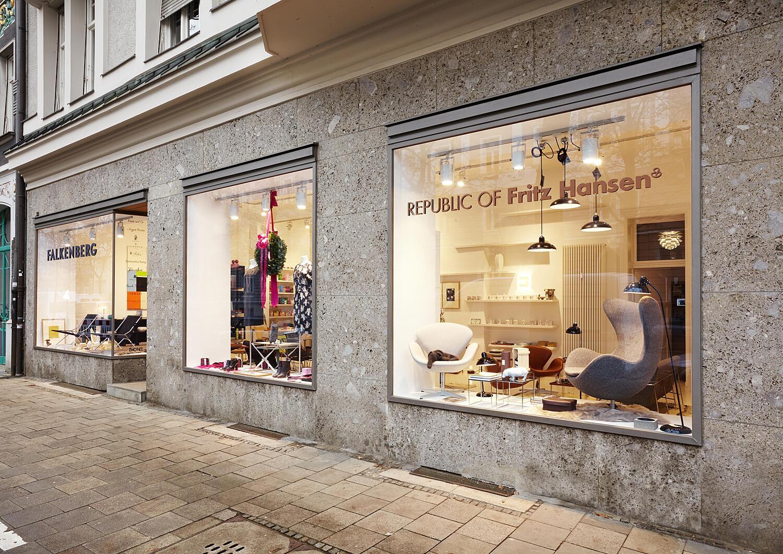 falkenberg concept store franz joseph str schwabing. Black Bedroom Furniture Sets. Home Design Ideas