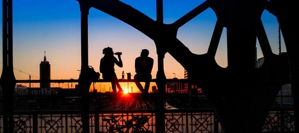 Sonnenuntergang in München, Hackerbrücke